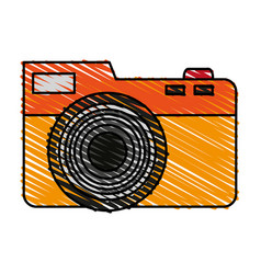 color crayon stripe analog camera with flash vector image