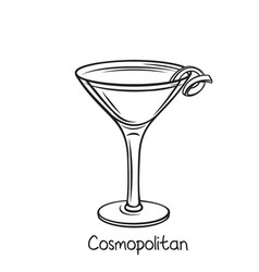 Cosmopolitan cocktail with lime vector