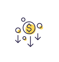 Cost reduction minimising icon line vector