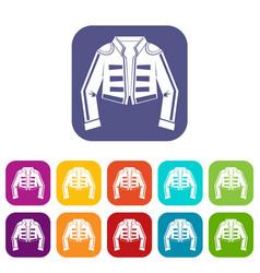 Costume of toreador icons set vector