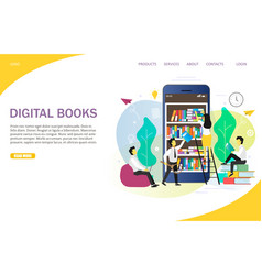 Digital books landing page website template vector
