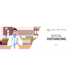Doctor in uniform keeping distance to prevent vector
