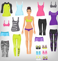 dress up paper doll with an assortment of sports vector image