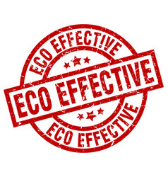 Eco effective round red grunge stamp vector