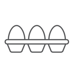 Eggs in carton package thin line icon farming vector