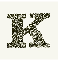 Elegant capital letter K in the style Baroque vector