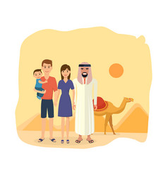 family travel to arab emirates tradition culture vector image