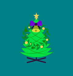 Flat on background of christmas fir wreath vector