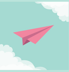 Flying origami paper plane cloud in corners frame vector