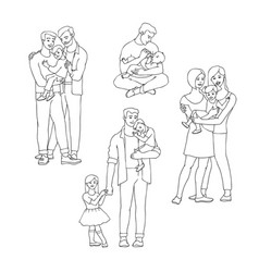 gay family set with happy men vector image