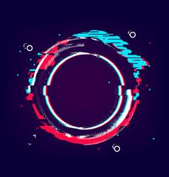 Glitch circle banner distorted round shape vector