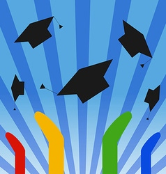 Graduation Hats Throwing High vector image