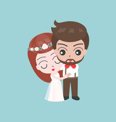 groom and bride hugging cute character for use as vector image