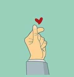 hands cute sign mini heart vector image