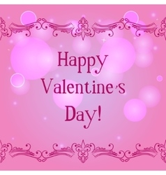 Happy valentine day card with decorative border vector