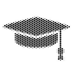 Hexagon halftone graduation cap icon vector