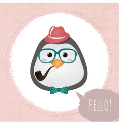 Hipster Penguin Textured Frame design vector image