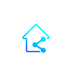 Home sharing icon on white vector