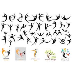 human logo shape collection vector image
