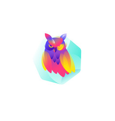 icon an owl flat icon a smart owl image is vector image