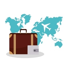 Isolated bag and airplane of travel design vector