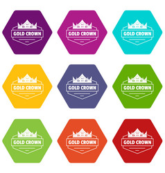 Jewelry crown icons set 9 vector