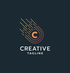 letter c technology logo vector image