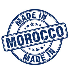 made in morocco blue grunge round stamp vector image