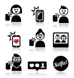 Man woman taking selfie with mobile or cell phone vector