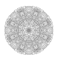 Mandala zentangl doodle drawing round ornament vector