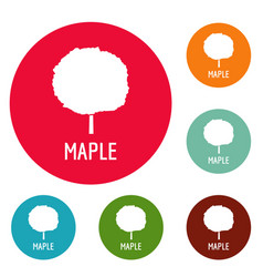 maple tree icons circle set vector image