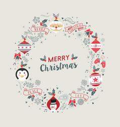 merry christmas vintage wreath frame decoration vector image