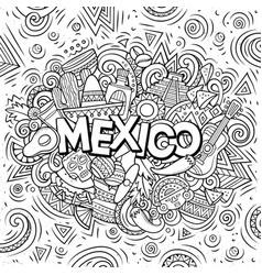 Mexico hand drawn cartoon doodles vector