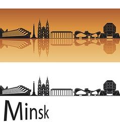 Minsk skyline in orange background vector
