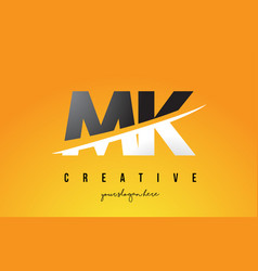 Mk m k letter modern logo design with yellow vector