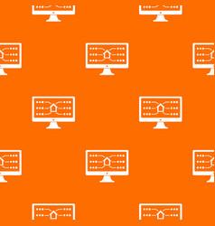 monitor pattern orange vector image