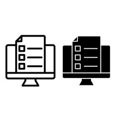 Monitor with document line and glyph icon list on vector