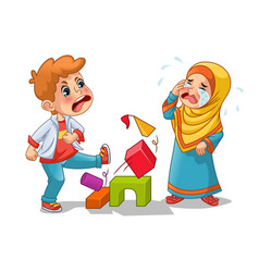 Muslim girl cry because boy destroying her blocks vector