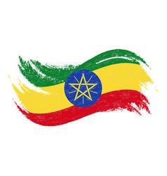 national flag of ethiopia designed using brush vector image