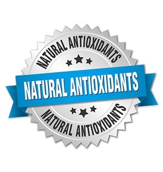 Natural antioxidants 3d silver badge with blue vector