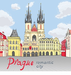 Old Town square in Prague vector image