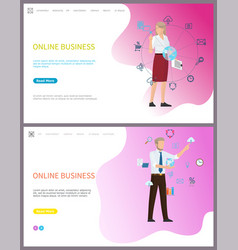 online business people working with global network vector image