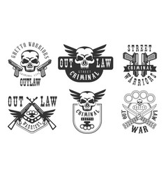 Outlaw street criminal retro labels set welcome vector