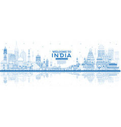 outline welcome to india city skyline with blue vector image