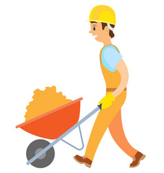 Person with building material in carriage vector