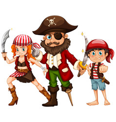 Pirate and two crews with weapons vector