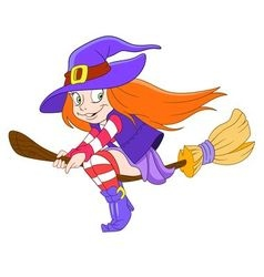 Pretty young witch vector