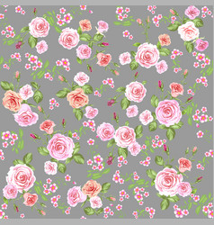 Roses seamless pattern gray vector