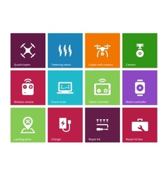 Rotorcraft drone icons on color background vector