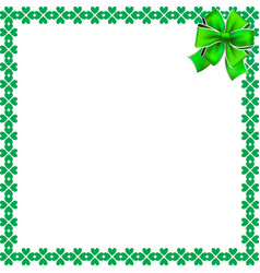 saint patricks day elegant border with shamrocks vector image
